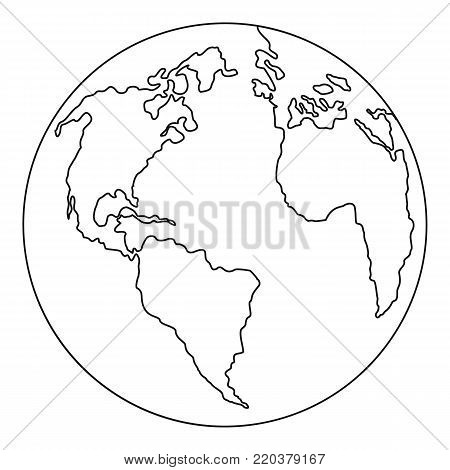 Continent planet icon. Outline illustration of continent planet vector icon for web