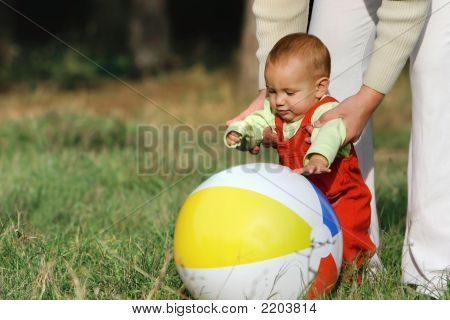Father And Son With A Ball