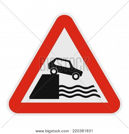 Car on a precipice over water icon. Flat illustration of car on a precipice over watevector icon for web.