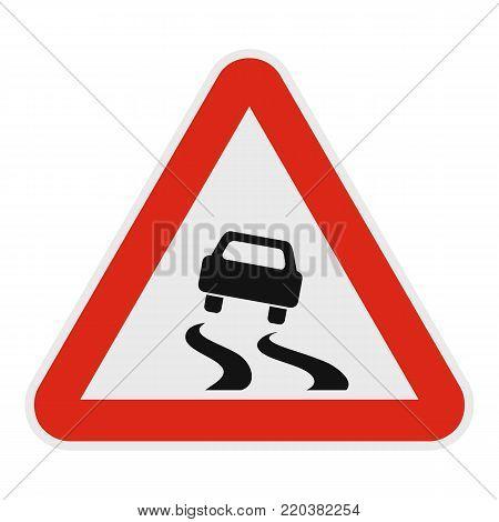 Car on dangerous roadside icon. Flat illustration of car on dangerous road vector icon for web.