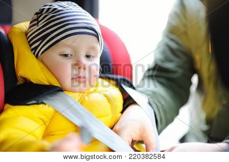 Father helps his toddler son to fasten belt on car seat. Child transportation safety