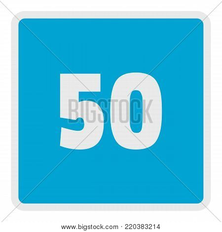 Minimum speed fifty limit icon. Flat illustration of minimum speed fifty limit vector icon for web.