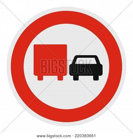 No lorry overtaking icon. Flat illustration of no lorry overtaking vector icon for web.