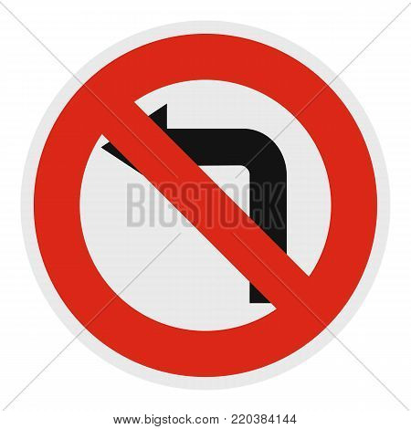 Turn is prohibited icon. Flat illustration of turn is vector icon for web.