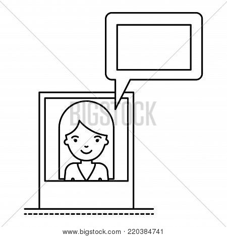 woman social network picture profile dialogue comments in monochrome silhouette vector illustration
