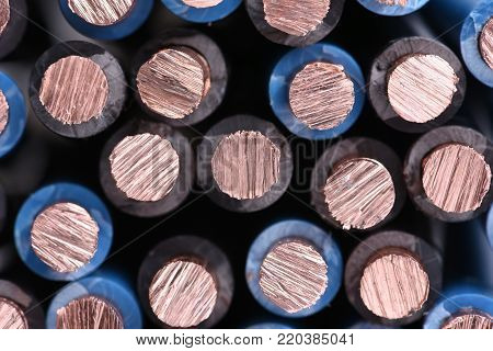 Copper electrical power wire cable close up