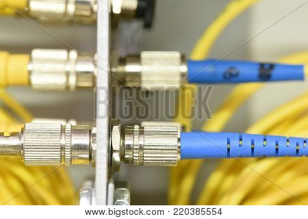 Optic fiber cables on distribution panel in data center