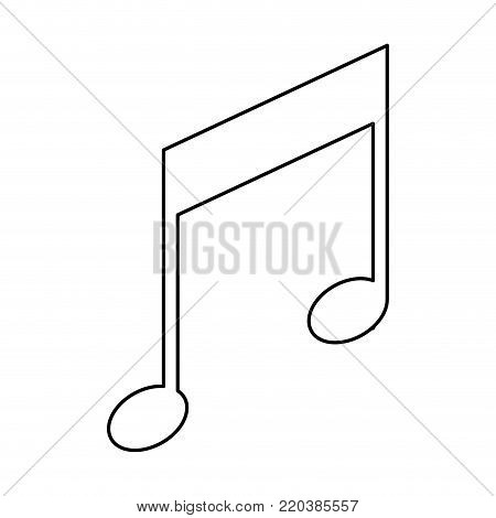 musical note icon in monochrome silhouette vector illustration