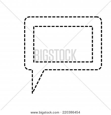 dialogue box icon with tail and frame in monochrome dotted silhouette vector illustration