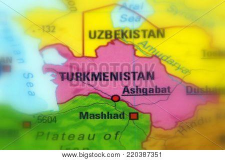 Turkmenistan, formerly known as Turkmenia (selective focus).