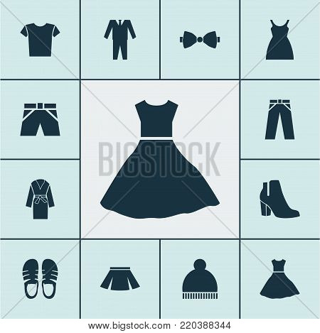 Garment icons set with sundress, evening gown, pants and other evening gown elements. Isolated vector illustration garment icons.