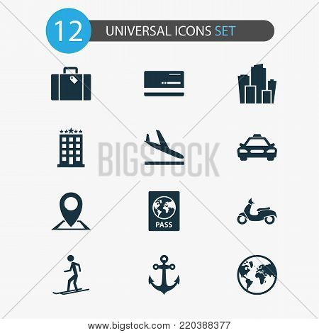 Traveling icons set with mastercard, slalom, certificate and other scooter elements. Isolated vector illustration traveling icons.
