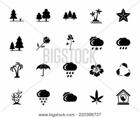 Nature icon set. Plants, flora, climate. Ecosystem concept. Can be used for topics like environment, ecology, life