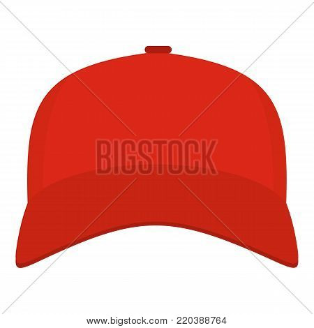 Baseball cap in front icon. Flat illustration of baseball cap in frontvector icon for web.