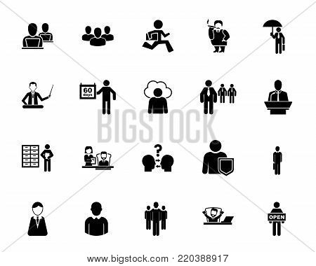 Office employee icon set. Businesspeople, job, career. Office worker concept. Can be used for topics like business, employment, occupation