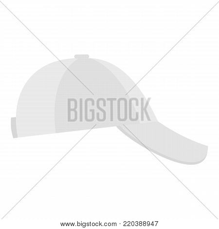 White baseball cap on side icon. Flat illustration of white baseball cap on side vector icon for web.