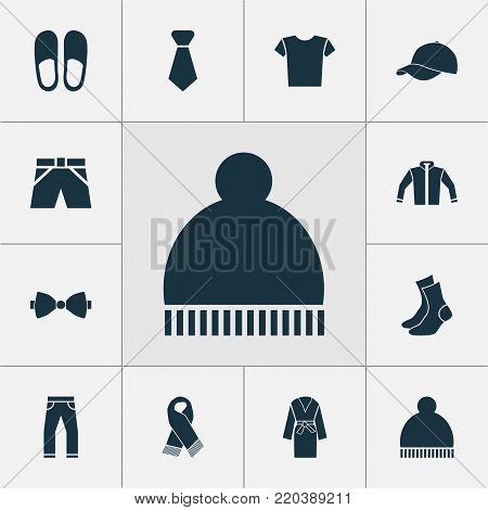 Garment icons set with home shoes, trunks cloth, cardigan and other trunks cloth elements. Isolated vector illustration garment icons.