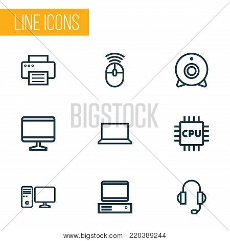 Computer icons line style set with peripheral, PC, cpu and other camera  elements. Isolated vector illustration computer icons.