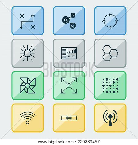 Machine icons set with variable architecture, branching program, controlling board and other branching program  elements. Isolated vector illustration machine icons.