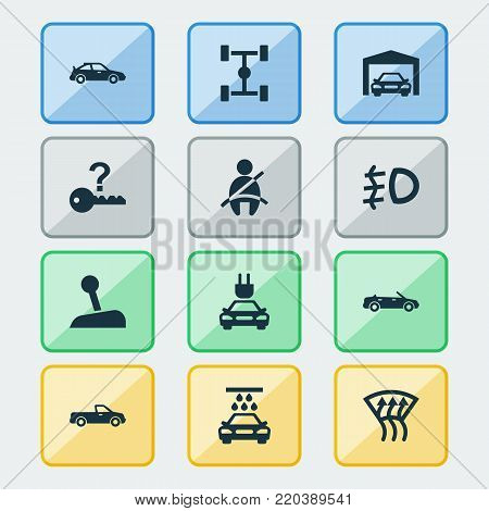 Auto icons set with plug, carriage, wheelbase and other carriage elements. Isolated vector illustration auto icons.