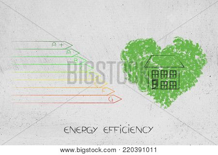 green ecological home conceptual illustration: energy efficiency rating chart next to house over heart of leaves