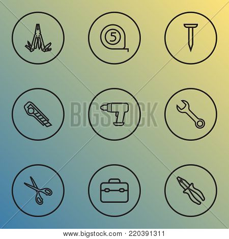Repair icons line style set with cutter, bolt, multifunctional pocket and other bolt elements. Isolated  illustration repair icons.