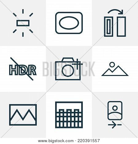 Image icons line style set with wb sunny, add a photo, broken image and other vignette elements. Isolated  illustration image icons.