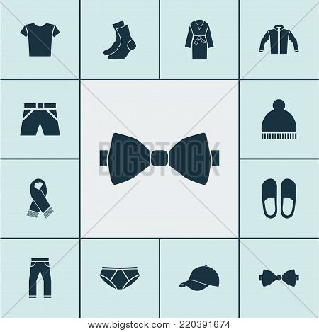 Dress icons set with necktie, evening gown, casual and other necktie elements. Isolated  illustration dress icons.