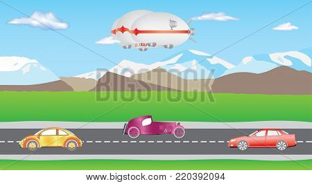 Hybrid airship. Airlander on sky with clouds. Hybrid Air Vehicles. Unmanned Vehicles for Heavy Transport. Long zeppelin - airlander, rigid airship. Cars on two-way road. Cartoon cars driving on a suburban road.
