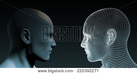Digital Identity and Transfer of Knowledge and Automation 3d Render
