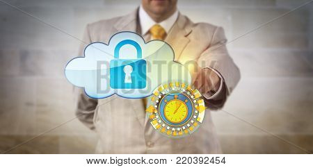 Unrecognizable manager securing cloud data in near real time. IT concept for remote access control, cybersecurity, instant information transfer via secure connectivity and constant data monitoring.