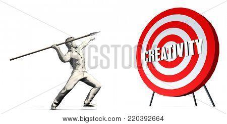 Aiming For Creativity with Bullseye Target on White 3d Render