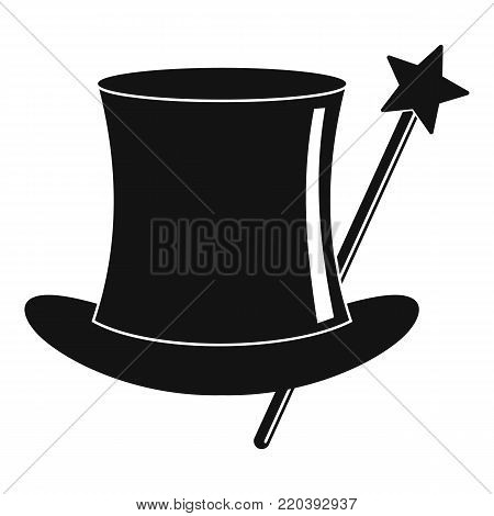 Hat with a wand icon. Simple illustration of hat with a wand vector icon for web.