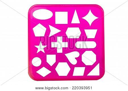 Varoius stencil shapes on a pink background