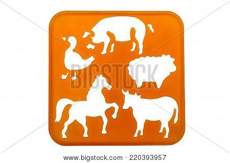 Animal stencil shapes on a orange background