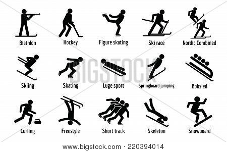 Winter sport symbols icons set. Simple illustration of 15 winter sport symbols vector icons for web