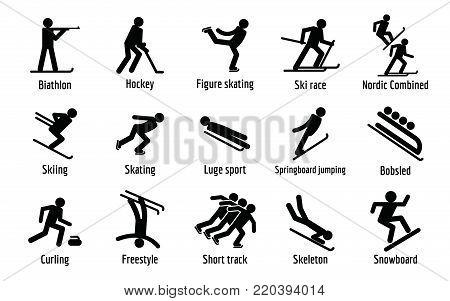 Winter sport symbols icons set. Simple illustration of 15 winter sport symbols vector icons for web