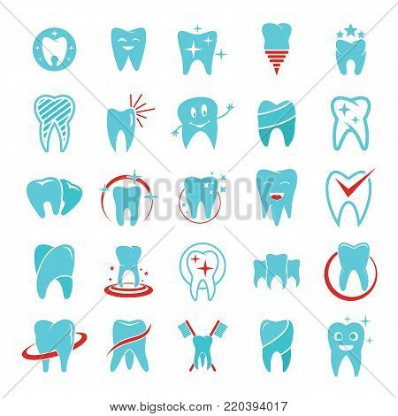 Tooth dental care logo icons set. Flat illustration of 25 tooth dental care logo vector icons for web