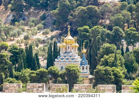 Wide angle picture of Church of Mary Magdalene, Russian Orthodox church located on the Mount of Olives in Jerusalem, Israel.