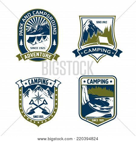 Camping badge of mountain or forest camp adventure. Outdoor recreation or scout heraldic shield with campground park, tent, mountain river and forest tree landscape, adorned by ribbon banner and star