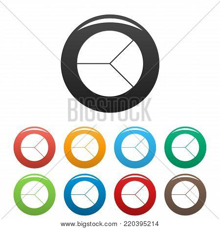 Circle graph icons set in simple style many color circle isolated on white background