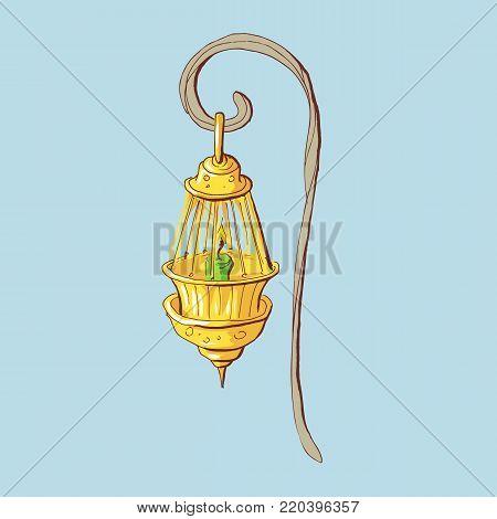 Kerosene lamp icon. Cartoon illustration of kerosene lamp vector. St. Patrick s Day Lantern