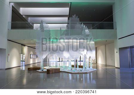 Jaen, Spain - December 29th, 2017: Iberian Art Museum Building in Jaen, Spain. Fiber forest at Main Hall