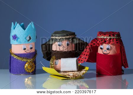 The Three Wise Men Made Of Toilet Paper Roll By A Child