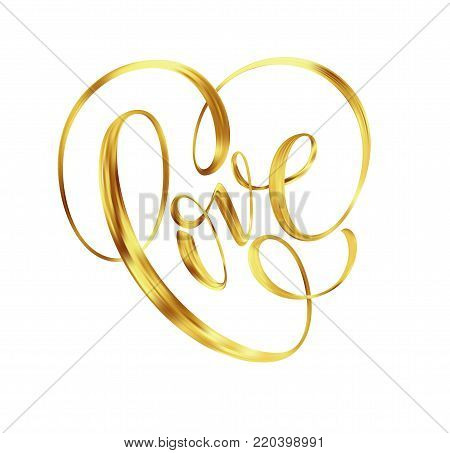 Love gold lettering text on background, hand painted letter, golden valentines day handwritten calligraphy for greeting card, invitation, wedding, save the date. Vector illustration EPS10