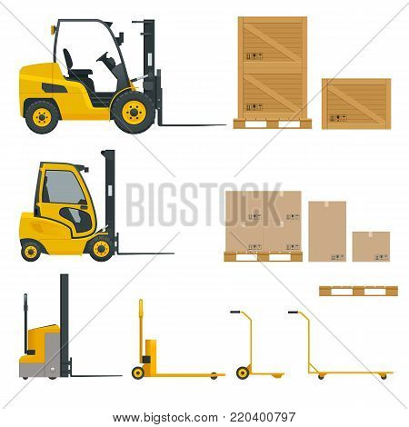Set of Orange Forklifts in various combinations, storage racks, pallets with goods for infographics. Vector illustration isolated on white background. Storage equipment icon set. Side view.