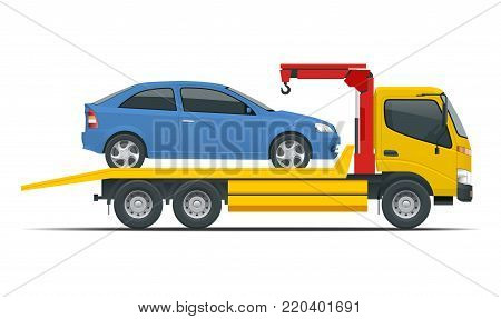 Tow truck city road assistance service evacuator. Tow truck delivers the damaged vehicle. Vector illustration isolated on white background. Side view