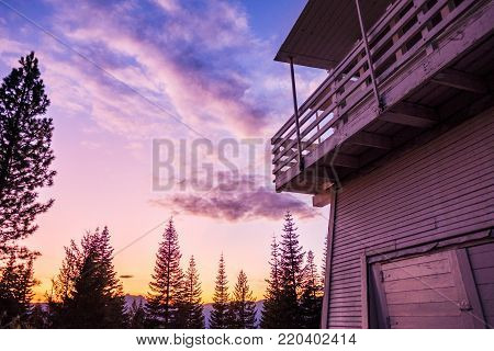 Fire lookout at twilight - blue hour - amazing light
