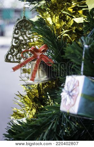 Beautiful items decorated Christmas tree, stock photo