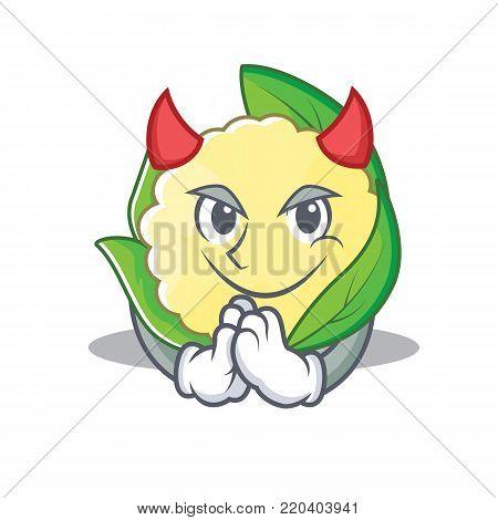 Devil cauliflower character cartoon style vector illustration